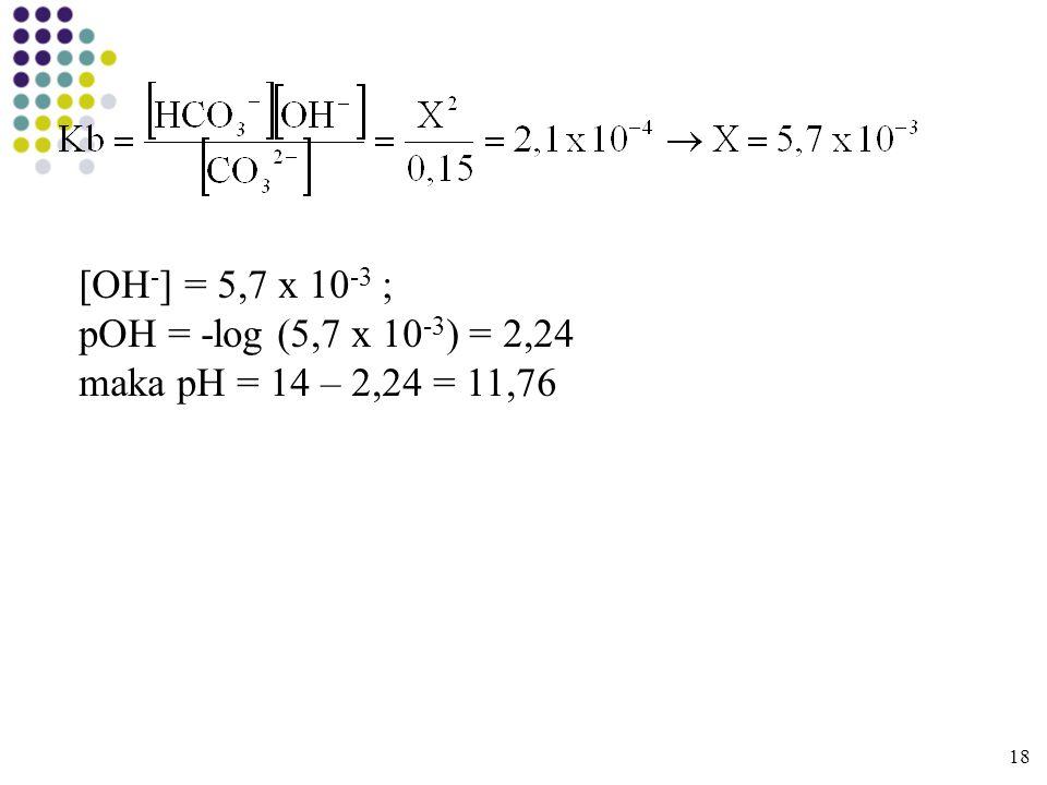 [OH-] = 5,7 x 10-3 ; pOH = -log (5,7 x 10-3) = 2,24